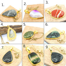 Agate Jasper Onyx Geode Druzy Gold Plated Pendant Chain Necklace Jewelry