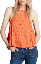165766 New Free People Dream Date Lace-Up Trapeze Orange Tank Blouse Top Large L