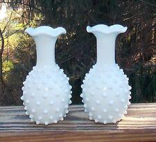 Early Antique Art Milk Glass Hobnail Blue Tint Pair Mantle Vases