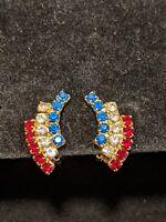 Vintage Estate Gold Tone Red White Blue Rhinestone Patriotic Clip Earrings