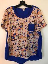 J Crew Blouse Shirt Blue & Flowers Short Sleeve Size L ~ Large