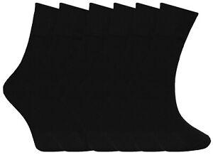 6 Pairs Boys Plain Black Socks Cotton Formal School Sock Ankle Sox UK Size 4-6