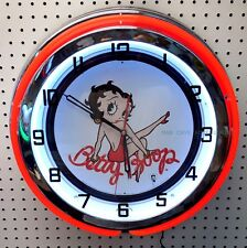 "18"" BETTY BOOP Sign Double Neon Wall Clock"