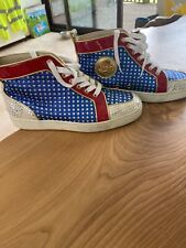 Louboutin Metallic Blue White and Red Trainers 38.5