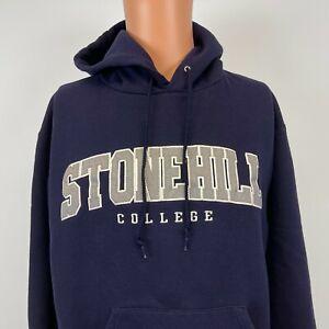 Champion Stonehill College Embroidered Hoodie Sweatshirt Massachusetts Purple M