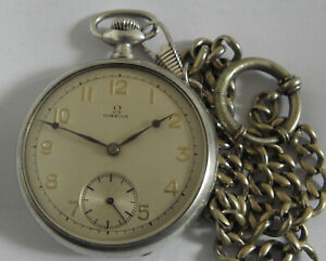 VERY RARE OMEGA SWISS SILVER POCKET WATCH MEN,S