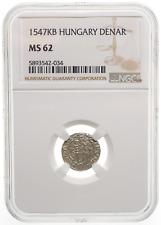 HUNGARY. Ferdinand I Silver Denar, 1547-KB, Mint State, NGC MS62