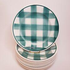 12 anciennes assiettes à carreaux vert bleu turquoise La Faïencerie Nouvelle FN