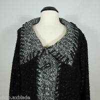 SLONI Warm Black Wool Blend Cardigan Sweater size XL