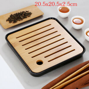 Bamboo Tea Table Serving Tray Set Saucer Drainage Reservoir Plate Teaboard Home