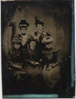 NICE Antique Victorian 1/6th Plate Tintype Photo of Fashion Women Wearing Hats