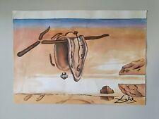 Peinture montre molle sur papier signé Dalí Softwatch painting paper signed Dalí