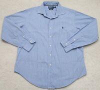 Ralph Lauren Dress Shirt XL Cotton Long Sleeve Blue & Navy Men's Extra Large Man