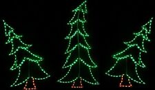 Set of Three Tilted Xmas Trees Outdoor LED Lighted Decoration Steel Wireframe