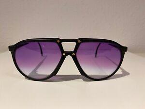 NOS Vintage Carrera 5434-94 matte black w/GOLD studs & purple lenses Sunglasses