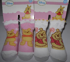 Disney Winnie Pooh * 2 x Baby Strümpfe/Socken * 6/12 Monate*Rosa/weiß*