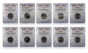 PCGS MS66 2011 P&D National Park Quarter 25C 10-Coin Set Bunting Inserts