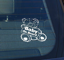 Static Cling Window Car Sign/Decal Baby on Board 100 x 100mm Teddy Bear