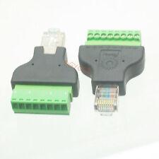 1x Ethernet RJ45 Male to AV Screw Terminal Plug Connector Adapter CCTV Radio Ham