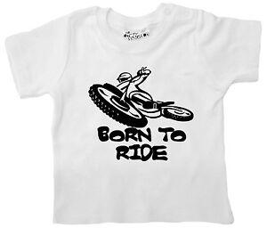 "Baby Motorbike T-Shirt ""Born to Ride"" Bike Biker Trials Boy Girl Tee Clothes"