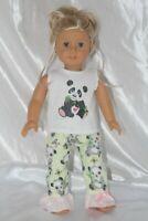 Doll Clothes fits 18 inch American Girl Dress Pajamas Hearts Panda