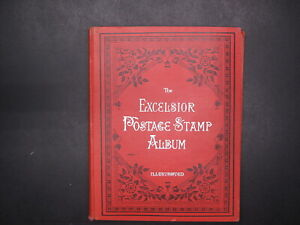 Vintage 1900's Excelsior Postage Stamp Album With Collection Remnant