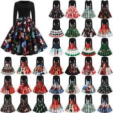 Plus Size Women Christmas Retro Santa Deer Swing Dress Xmas Party Skater Dress