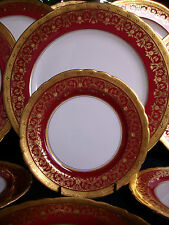 AYNSLEY KENILWORTH RED #7023 (1930's)- BREAD PLATE (s)- ENCRUSTED GILT!! RARE!!
