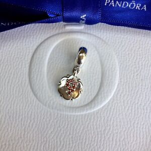 Authentic Pandora Dangle Hanging w Garnet Stones Lucky Number 9 Charm #790550GA9