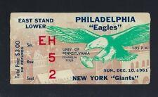 VINTAGE 1961 NFL NEW YORK GIANTS @ PHILADELPHIA EAGLES FOOTBALL TICKET STUB