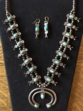 1930'S SQUASH BLOSSOM TURQUOISE NAVAJO BOX & BOW NECKLACE