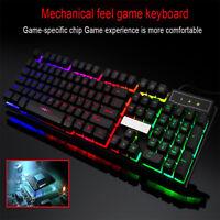 7 Colors Crack LED Illuminated Backlit USB Wired PC Rainbow Gaming Keyboard US
