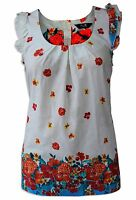 Ex Dorothy Perkins Cream Red Blue Floral Cap Sleeve Summer Top Size  8 -20