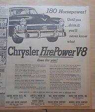 1951 newspaper ad for Chrysler - Fire Power V-8, 180 H.P., New Yorker grille