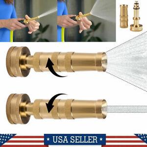 """Solid Brass Garden Spray Nozzle 4"""" Heavy Duty Adjustable Twist Water Hose Nozzle"""