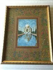 "Original Watercolor Painting The Taj Mahal & Flowers on Mat, Framed, 4 1/2"" x 7"""