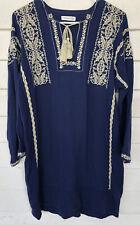 isabel marant size 40 Tunic Dress Blue Ivory Floral Embroidery VNeck