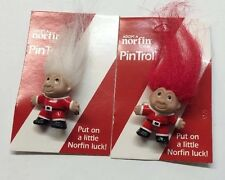 "2-Troll pin Christmas  Brooch Pin New 1 1/2"" 1- Red 1-White Hair  norfin Vintage"