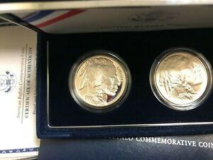 2001 P&D 2-Coin American BUFFALO COMMEMORATIVE COINS PROOF & UNC Set w/Box & COA