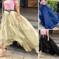Women High Waist Asymmetric TUTU MAXI SKIRT Layered Pleated Long Dress Size 8-26