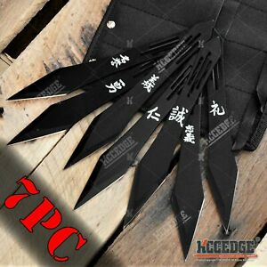 """7PC 7.5"""" Tactical Fixed Blade Knife Set with Leg Sheath Survival Knives"""