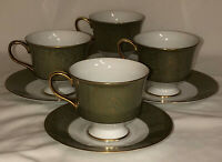 4 Sango China *VERSAILLES*GREEN & GOLD*FOOTED CUPS & SAUCERS*3632*