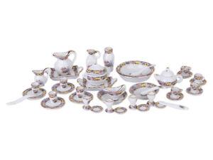 40 pcs 1:12 Dollhouse Miniature Dining Ware Porcelain Tea Set Cup Dish Cups