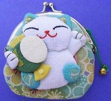 Japanese Maneki Neko Lucky Cat Coin Purse Bag #22408-7 S-2844
