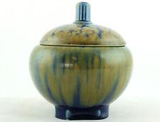 an early 20th C Villeroy & Boch lidded pot. Mottled glaze Art Nouveau.  Gourd