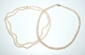 "2Pc Single Strand Off White Cultured Pearl Necklace 16"" & 35"" (SaR)#455"