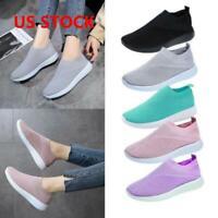 Women Fashion Air Cushion Sneakers Breathable Mesh Walking Slip On Running Shoes