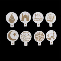 8pcs/set Mosque Eid Mubarak Ramadan Design Coffee Stencils Cake Templates YK