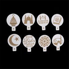 8pcs/set Mosque Eid Mubarak Ramadan Design Coffee Stencils Cake Templates M0