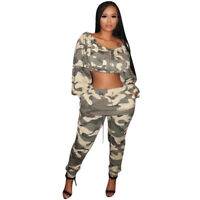 Women Long Sleeves Zipper Camouflage Print Casual Club Sports Jumpsuit 2pc